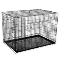 """Pet Trex 42"""" 2-Door Crate-N-Kennel Pet Crate in Black"""