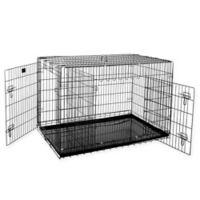 """Pet Trex 48"""" 2-Door Crate-N-Kennel Pet Crate in Black"""