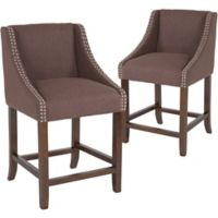"Flash Furniture Upholstered Carmel 36"" Bar Stools in Brown(Set of 2)"