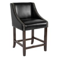 """Flash Furniture Faux Leather Upholstered Carmel 36"""" Bar Stool in Black"""