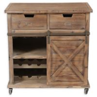Winsome Home Rustic Sliding Barn Door Wine Cabinet in Natural