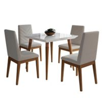 Manhattan Comfort Utopia Catherine 5-Piece Dining Set in White/Beige