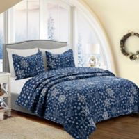 Snowflake Full/Queen Reversible Quilt in Blue