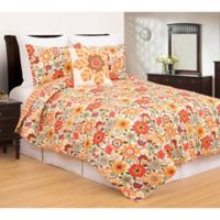 C&F Enterprises, Inc Riley Reversible Full/Queen Quilt Set in Orange/Green