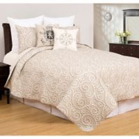 Elmont Reversible Twin Quilt Set in Tan