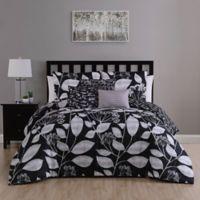 Mirelle 7-Piece Reversible Queen Comforter Set in Black