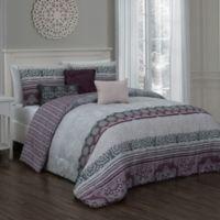 Ellisa 7-Piece Reversible Queen Comforter Set in Plum
