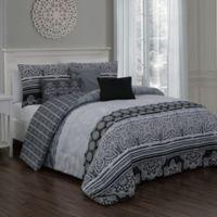 Ellisa 7-Piece Reversible Queen Comforter Set in Black
