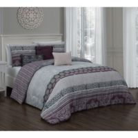 Ellisa 7-Piece Reversible King Comforter Set in Plum