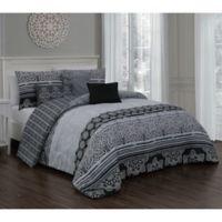Ellisa 7-Piece Reversible King Comforter Set in Black