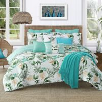 Caribbean Joe Nassau 4-Piece Reversible Queen Comforter Set in Aqua/White