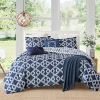 Caribbean Joe Aruba 4-Piece Reversible Full Comforter Set in Blue/White