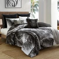 Caribbean Joe Palm Tree 4-Piece Reversible Queen Comforter Set in Black/White