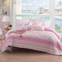 Caribbean Joe Pineapple 4-Piece Reversible King Comforter Set in PInk/White