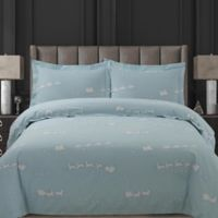Tribeca Living Santa's Sleigh Queen Duvet Covet Set in Blue