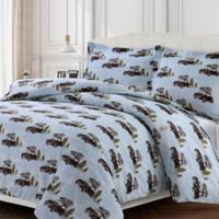 Tribeca Living Winter Outing Queen Duvet Cover Set in Blue