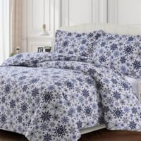 Tribeca Living Snowflakes Flannel Queen Duvet Cover Set in Dark Blue