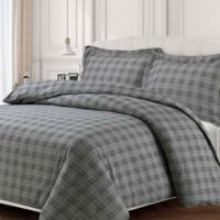 Tribeca Living Savannah Flannel Queen Duvet Cover Set in Steel