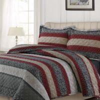 Tribeca Living Alpine Knit Flannel Queen Quilt Set in Red/Grey