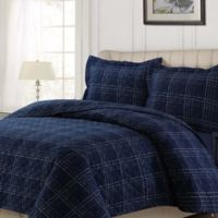 Tribeca Living Oxford Plaid Quilt Set in Navy