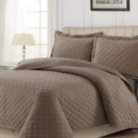 Tribeca Living Solid Flannel Queen Quilt Set in Otter