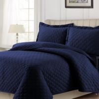 Tribeca Living Solid Flannel King Quilt Set in Indigo