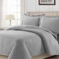 Tribeca Living Solid Flannel King Quilt Set in Silver