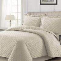 Tribeca Living Solid Flannel King Quilt Set in Vanilla Latte