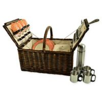 Picnic at Ascot Buckingham 4-Person Picnic Basket with Coffee Set in Orange