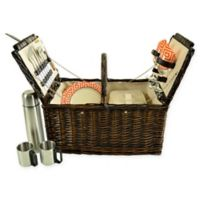 Picnic at Ascot Surrey 2-Person Picnic Basket with Coffee Set in Orange