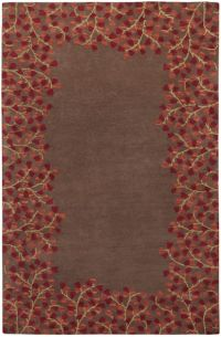 Surya Athena Petal Border 5' x 8' Area Rug in Red/Brown