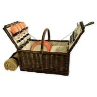 Picnic at Ascot Buckingham 4-Person Picnic Basket with Blanket in Orange