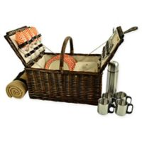 Picnic at Ascot Buckingham 4-Person Picnic Basket with Blanket and Coffee Set in Orange