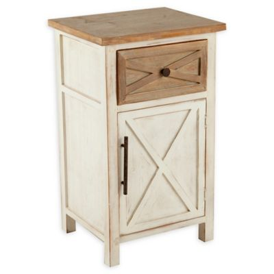 Winsome Home Rustic Antique Small Console Cabinet In Off White