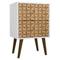 Manhattan Comfort Liberty 2.0 Nightstand in White/Brown