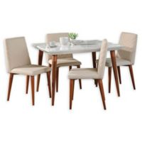 Manhattan Comfort Utopia 5-Piece Dining Set in Beige/White