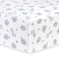 Trend Lab® Safari Chevron Flannel Fitted Crib Sheet in Grey/White