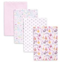 Trend Lab® 4-Pack Safari Deluxe Flannel Receiving Blankets in Pink