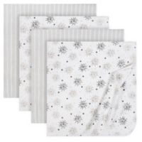 Just Born® 4-Pack Flannel Blankets in Grey/Silver