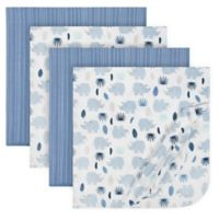 Just Born® 4-Pack Flannel Blankets in Blue/Grey