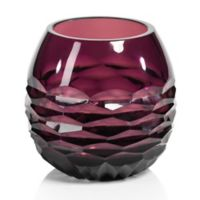 Zodax Taza Horizontal Cut Glass Tealight Candle Holder in Purple