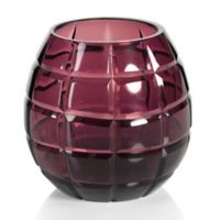 Zodax Taza Grid Cut Glass Tealight Candle Holder in Purple