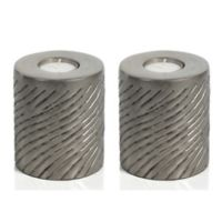 Zodax Peninsula 4-Inch Pillar Tealight Candle Holders in Grey (Set of 2)