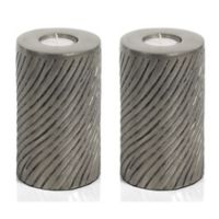 Zodax Peninsula 6-Inch Pillar Tealight Candle Holders in Grey (Set of 2)