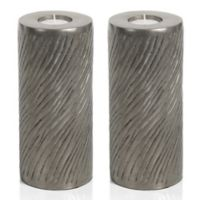 Zodax Peninsula 8-Inch Pillar Tealight Candle Holders in Grey (Set of 2)