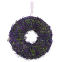 Northlight® 14.5-Inch Artficial Moss and Twig Floral Wreath in Purple/Green