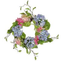 20-Inch Artificial Rose and Hydrangea Floral Wreath in Blue