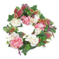 22.5-Inch Artificial Rose Flowers and Berries Wreath in Pink