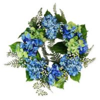 24-Inch Artificial Hydrangea and Berry Floral Wreath in Blue/Green