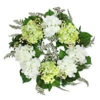 24-Inch Artificial Hydrangea and Berry Floral Wreath in White/Green